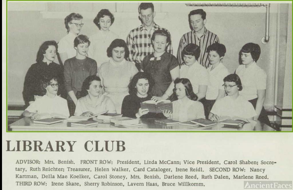 Carol Lee Shaben-Wentz--U.S., School Yearbooks, 1900-1999(1958)Library Club
