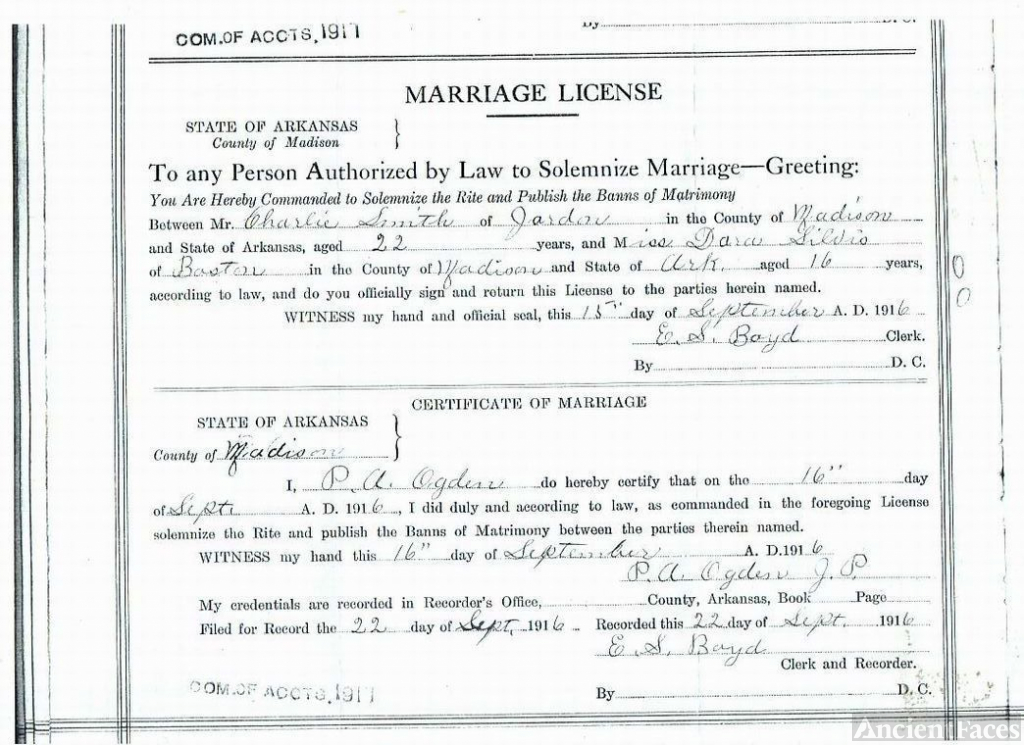 Marriage Cert of Charlie & Pheobe Don Silvis Smith