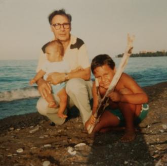 Grandpa Mike Rekush (born Rakush) with his grandsons. Photo taken at Van Wagners Beach in Hamilton ON in 1981.