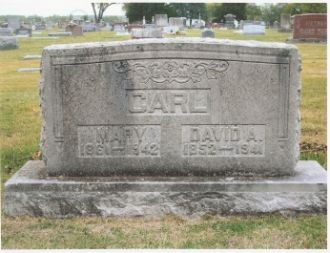 The Tombstone of David Arthur Carl (1852-1941) and His Wife, Mary B. (Williams) (1861-1942) in Dade Co, MO