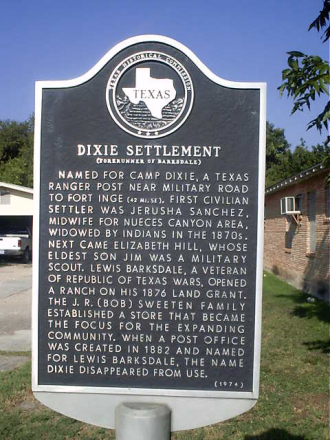 Sign posted by the Texas Historical Commission indicates Jerusha Sanchez (0300004) was the first civilian settler of Camp Dixie and a midwife for the Nueces Canyon area. Dixie was the forerunner of Barksdale, Texas. (Photo courtesy of findagrave.com)