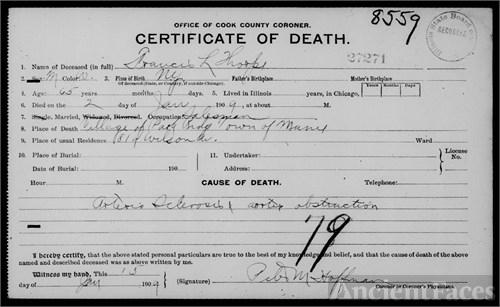 Francis Lewis Thorpe death certificate