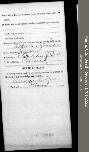Margaret Lee Clancy-O'Hare--Maine, U.S., Death Records, 1761-1922(1900)back