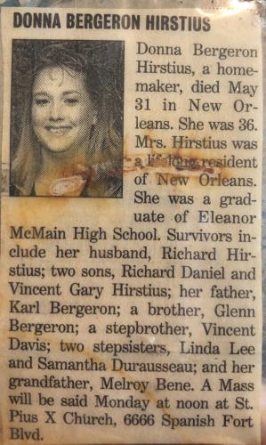 Donna M Hirstius Obituary