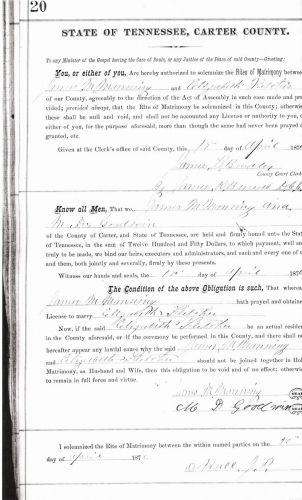 Marriage Bond James M. Manning & Elizabeth P. Flet