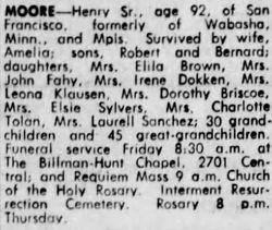 Henry D Moore Obituary