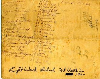 8th Ward School Ft Worth inscription