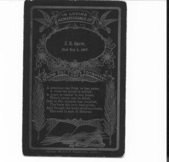 Jasper Snow, Memorial Card