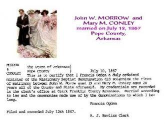 John & Mary (Conley) Morrow Marriage, Arkansas