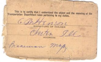 A W Henson certificate, back