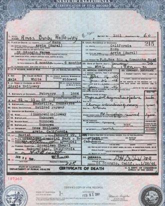 A.B. Holloway Death Certificate, 1946 CA