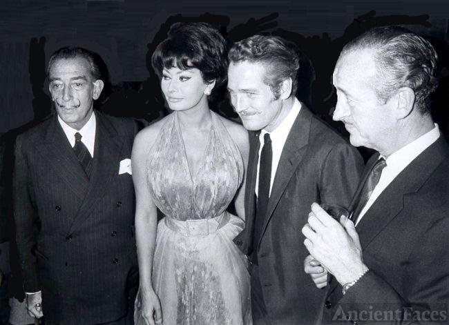Salvador Dali, Sophia Loren, Paul Newman and David Niven