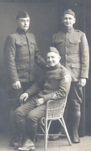 Three unknown soldiers.  Could be Gentry, Kollros, Moessmer, or Porter families.  Likely taken in Indiana.