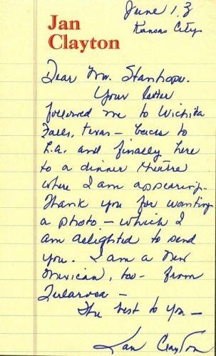 Jan Clayton Letter
