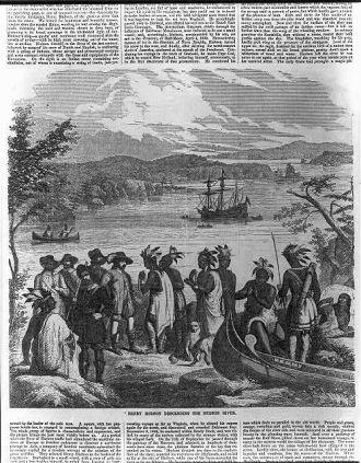 Henry Hudson descending the Hudson River