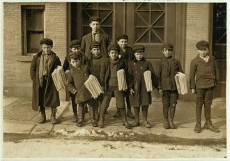 Small Hartford newsboys. Some are 7 and 8 years old. Many...