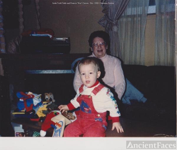 Justin with grandma, Kay Carson, 1988