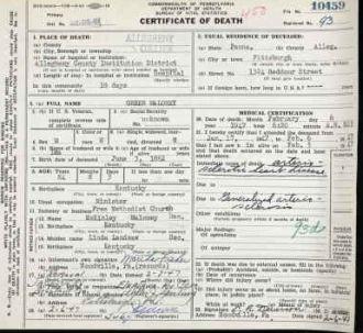 Greenberry Maloney Death Certificate