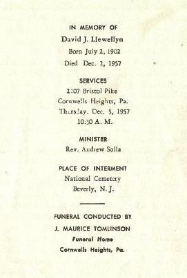 David J Llewellyn's Memorial Card