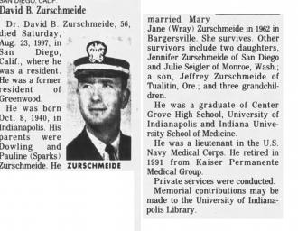 David Burton Zurschmeide's Obituary