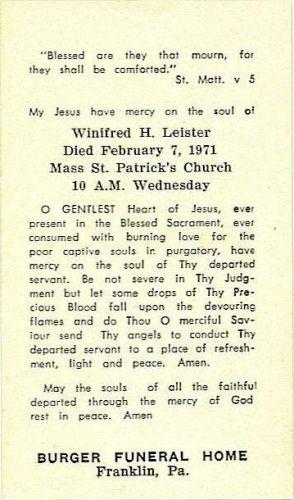 Winifred Henrietta Streicher funeral card