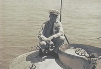 Allen R. McCann atop his Rescue Chamber, May 1939