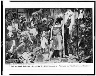 Vasco da Gama delivers the letter of King Manuel of...