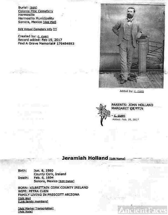 Jeramiah Holland,  family history