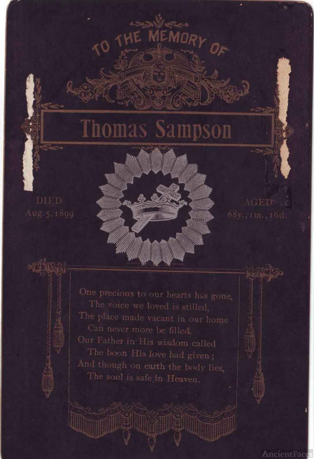 Thomas Sampson funeral card