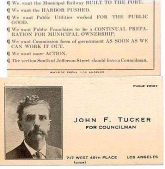Card of John Foster Tucker, CA 1910