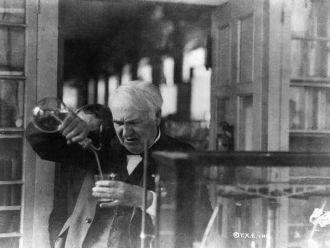 [Thomas Edison, half-length portrait, facing left and...