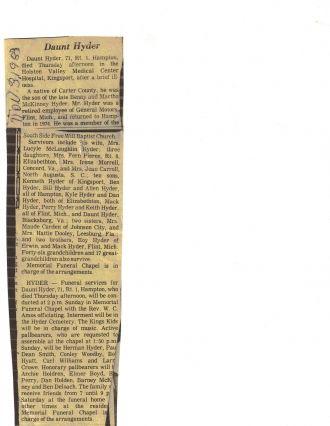 Daunt Hyder obituary