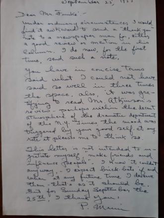 Paul Muni handwritten letter. New York Times. 1955