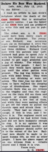 Newspaper article about Richard & A. B. Crow's death in 1915