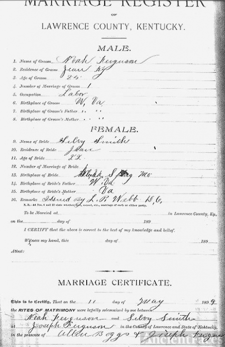 Noah Ferguson Marriage Certificate