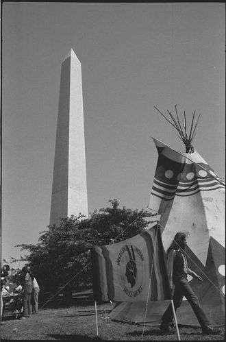 Tipi with sign, 1978