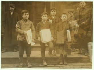 Newsboys, 9, 10 and 11 years old. Location: New Haven,...