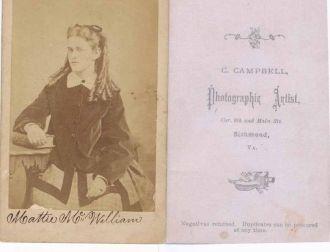 "A photo of Martha ""Mattie"" McWilliam"