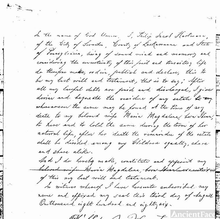 Philip Jacob Hartman's will