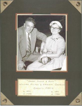 Costello. Gr Uncle William & Gr Aunt Virgy