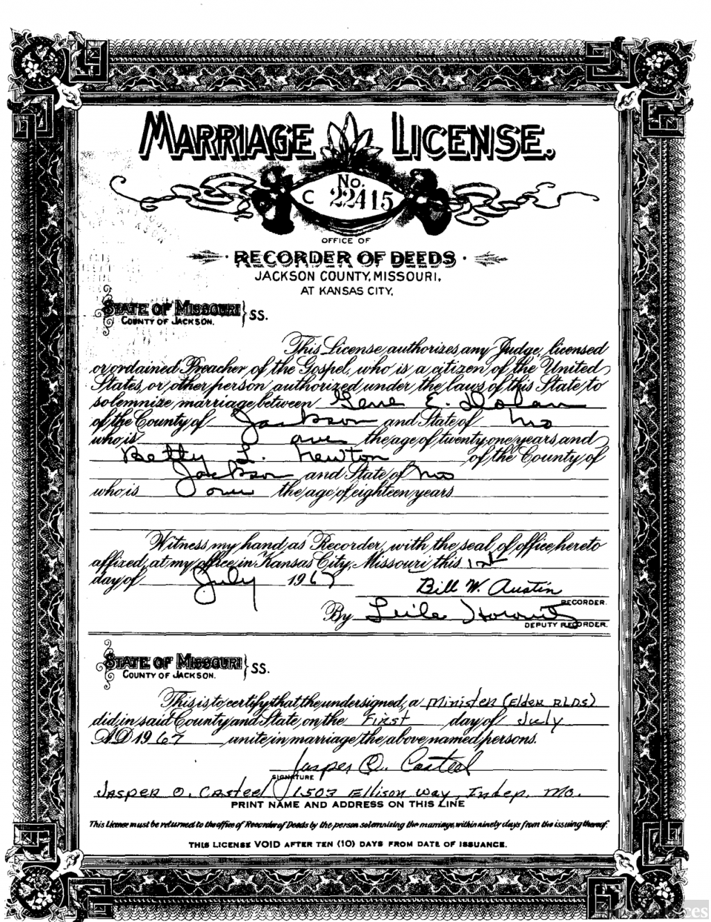 Dolan Marriage License