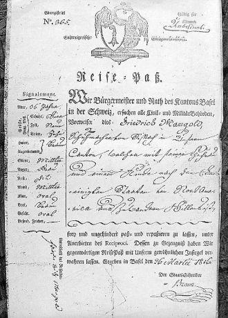 Friedrich Mangold,passport 1816