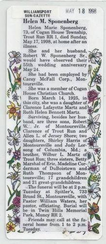 Helen Marie (Martz) Sponenberg obituary