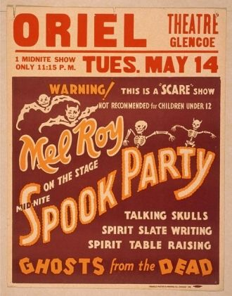 Mel Roy on the stage mid-nite, spook party talking...