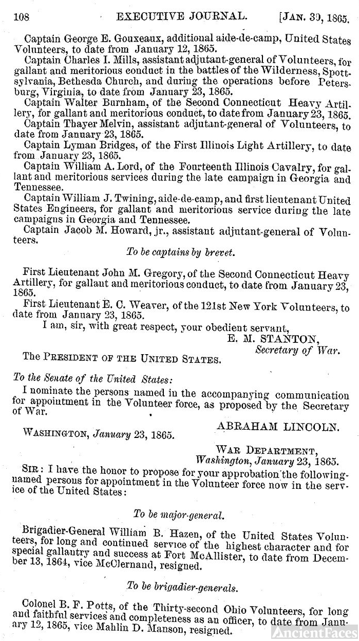 William Babcock Hazen Promotion to Major General