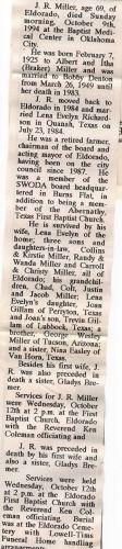 1994 Obituary of Eldorado, OK, Mayor, J.R. Miller