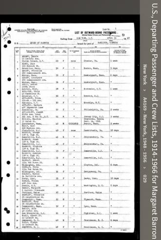 Margaret Theresa Barron--U.S., Departing Passenger and Crew Lists, 1914-1966