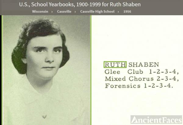 Ruth Ann Shaben--U.S., School Yearbooks, 1900-1999(1956)
