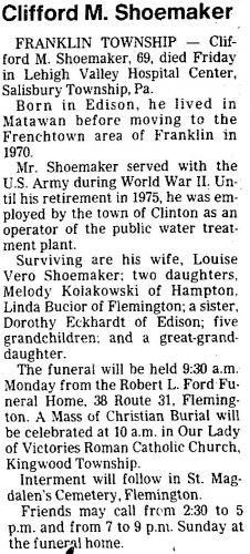 Clifford M. Shoemaker Obituary