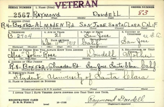 WWII Enlistment of Raymond Doudell